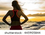 female sport fitness runner... | Shutterstock . vector #445905844
