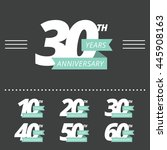 vector set of anniversary signs.... | Shutterstock .eps vector #445908163