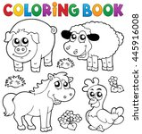 coloring book with farm animals ... | Shutterstock .eps vector #445916008