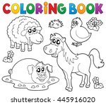 coloring book with farm animals ... | Shutterstock .eps vector #445916020