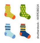 flat design colorful socks set... | Shutterstock .eps vector #445928014