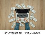 man with a load of cash money... | Shutterstock . vector #445928206