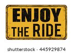 enjoy the ride on vintage rusty ... | Shutterstock .eps vector #445929874