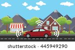 self driving car on the road... | Shutterstock .eps vector #445949290