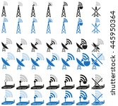 set of icons of antennas  tower ...