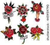 traditional tattoo flowers set... | Shutterstock .eps vector #445959790