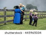 Small photo of LANCASTER, USA - JUNE 25 2016 - Amish people in Pennsylvania. Amish are known for simple living with touch of nature contacy, plain dress, and reluctance to adopt conveniences of modern technology