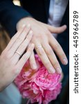 hands  rings  couple  pink... | Shutterstock . vector #445966789