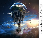 science fiction city with giant ... | Shutterstock . vector #445997248