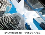 modern glass skyscrapers... | Shutterstock . vector #445997788