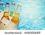 wet bottle of beer on watter... | Shutterstock . vector #446000689