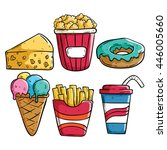 set of colored doodle fast food | Shutterstock .eps vector #446005660