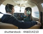 young man and woman flying in... | Shutterstock . vector #446014210