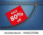 tag sale 80  in a blue denim... | Shutterstock .eps vector #446025586
