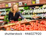 young woman shopping in the... | Shutterstock . vector #446027920
