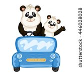 daddy and baby panda in a blue... | Shutterstock .eps vector #446028028
