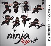ninja logo set 1 | Shutterstock .eps vector #446034676