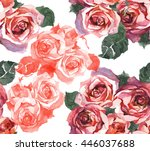 red roses watercolor pattern | Shutterstock . vector #446037688