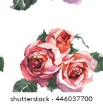 3 roses watercolor pattern | Shutterstock . vector #446037700