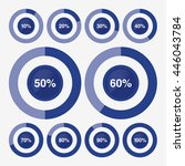 set icon pie blue chart percent | Shutterstock .eps vector #446043784