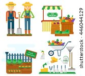 images of the life and work of... | Shutterstock .eps vector #446044129