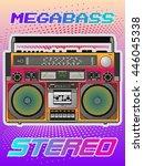 boombox cassette stereo...   Shutterstock .eps vector #446045338