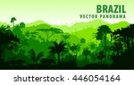 vector panorama with jungle... | Shutterstock .eps vector #446054164