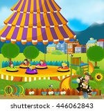 cartoon scene of kids playing...   Shutterstock . vector #446062843