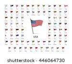 set of flags on a pole with... | Shutterstock . vector #446064730