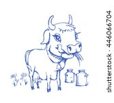isolated funny sketch cow for... | Shutterstock .eps vector #446066704