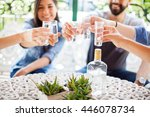 closeup of a group of young... | Shutterstock . vector #446078734