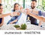 five friends raising their... | Shutterstock . vector #446078746
