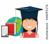 graduate student with book ...   Shutterstock .eps vector #446093176