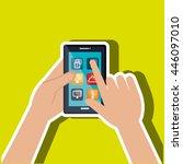 user hands with smartphone...   Shutterstock .eps vector #446097010