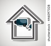 smart home with camera cctv... | Shutterstock .eps vector #446097328