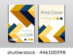 geometric brochure front page ... | Shutterstock .eps vector #446100598