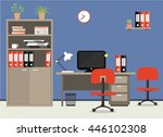workplace of office worker.... | Shutterstock .eps vector #446102308