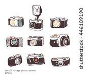 set of vintage camera... | Shutterstock .eps vector #446109190