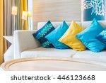 beautiful luxury pillow on sofa ...   Shutterstock . vector #446123668