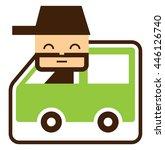 cute driver in green car | Shutterstock .eps vector #446126740