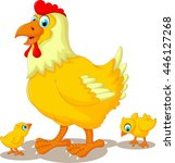 funny hen cartoon with her baby ... | Shutterstock .eps vector #446127268