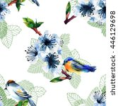 seamless pattern with birds and ... | Shutterstock . vector #446129698
