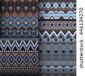 seamless ethnic patterns set.... | Shutterstock .eps vector #446134270