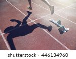 abstract view of athlete in... | Shutterstock . vector #446134960