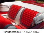 Rear Seats In A Red Vintage Car