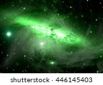 stars of a planet and galaxy in ... | Shutterstock . vector #446145403