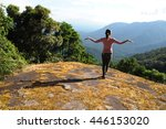 asian woman climbing success on ... | Shutterstock . vector #446153020