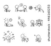 sketch drawing of happy and... | Shutterstock .eps vector #446160253