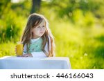 girl drinks juice | Shutterstock . vector #446166043