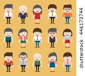 set of diverse business people. ... | Shutterstock .eps vector #446173744